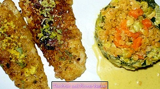 Leek vegetables with red lentils and crunchy breaded cod fillets