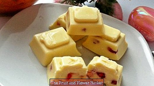 White chocolate pralines with pomegranate seeds