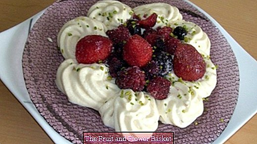 Quick almond cream pudding with forest fruits